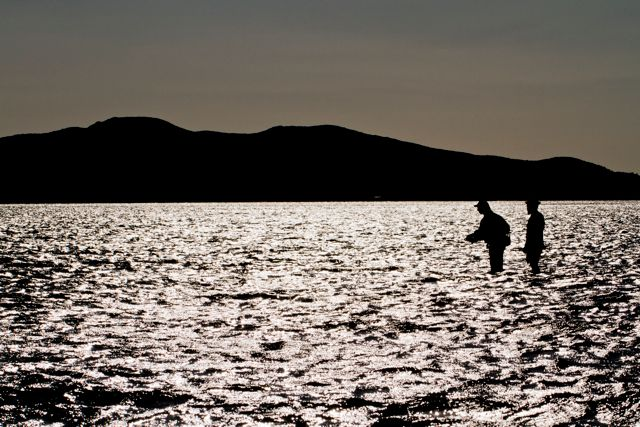 Chasing bonefish in the late afternoon on the remote flats, far north New Caledonia