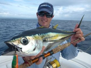 Anthony caught a big Yellow fin tuna in their fishing trip in Vanuatu