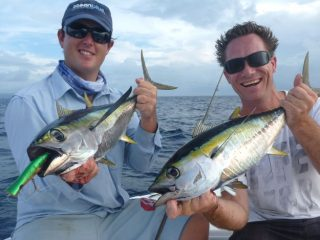 another yellow fin tuna caught in their Vanuatu fishing adventure