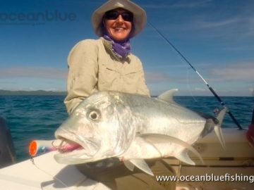 Chloe Taylor Vanuatu Fishing: huge gt fish
