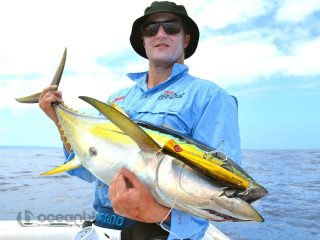 Team Airey topwater fishing for yellowfin