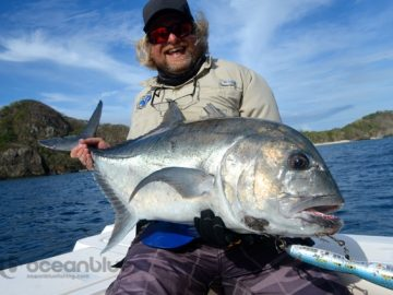 five fishing adventurers - Giant Trevally fishing