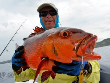 red bass fish catch by five fishing adventurers