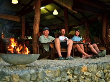 Brett Lee and friends enjoying Trees and Fishes accommodation