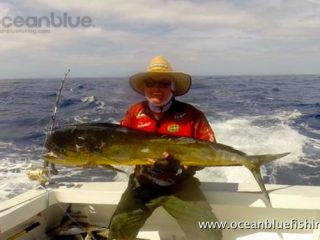 Dan caught a decent sized Mahi Mahi fish