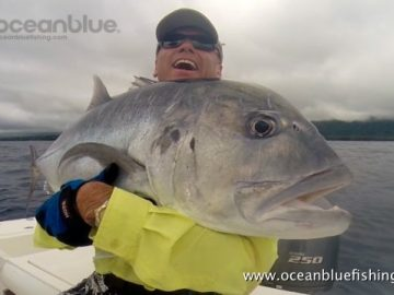 Alan Morrison Mothership Trip:happy angler with gt fish