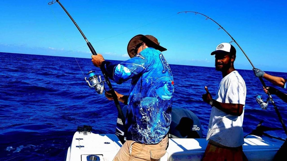 Fighting big fish with stand-up tackle